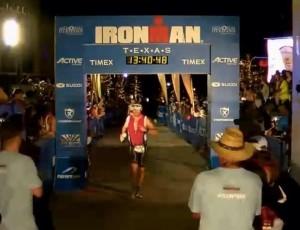Brock Brinkerhoff at the finish line of Ironman Texas 2013