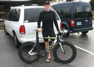Dec 2013, with his brand new Giant Trinity from Kyle's Bike Shop